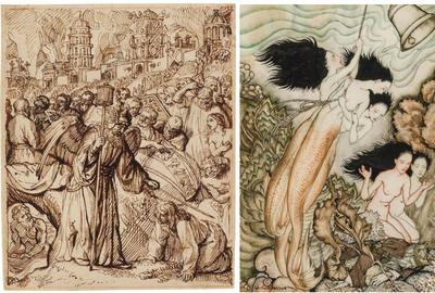 Image credits: (l.) Rembrandt School (Dutch, 17th Century), The Angel Saves Lot and His Family, c.  1660.  Pen and brown ink on buff paper, red chalk framing lines.  159 x 129 mm.  (r.) Arthur Rackham (British 1867-1939).  The Tempest, 1925.  Pen and ink with watercolor, 11.5 x 9.5 inches.