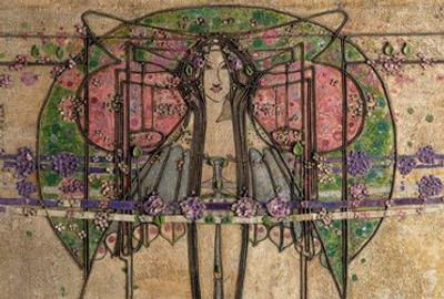 Margaret Macdonald Mackintosh.  The May Queen (detail), 1900.  Made for the Ladies' Luncheon Room, Miss Cranston's Ingram Street Tearooms, Glasgow.  Gesso on burlap (hessian) over a wood frame, scrim, twine, glass beads, thread, and tin leaf, 62 1/2 x 179 7/8 in.  overall.  Glasgow Museums: Acquired by Glasgow Corporation as part of the Ingram Street Tearooms, 1950.  © CSG CIC Glasgow Museums Collection.  Courtesy American Federation of Arts