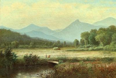 LAURA WOODWARD (1834-1926) Camel's Hump, Vermont, 1877.  Oil on canvas, 14 x 24 inches, Signed and dated 1877, lower left.  Image Courtesy of Hawthorne Fine Art, LLC
