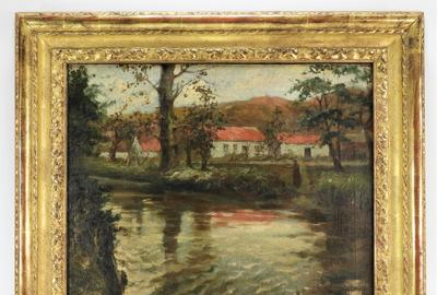 Impressionist oil on canvas painting by Norwegian artist Frits Thaulow (1847-1906), depicting a young woman by the edge of a river with her home in Norway behind (est.  $15,000-$25,000).