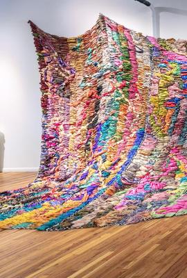 An example of what is being created for State of the Art 2020 by Suchitra Mattai, Dialectic, 2019.  Vintage saris from India, Sharjah and artist's Indo - Guyanese family and rope net, 480 x 180 in.  Courtesy of K Contemporary Art and the artist.  Photo by Wes Magyar