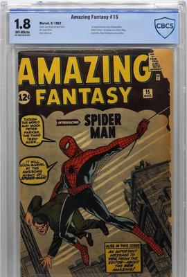 Copy of Marvel Comics Amazing Fantasy #15 (Aug.  1962), graded CBCS 1.8, featuring the first appearance and origin of Spider-Man as well as other primary characters (est.  $7,000-$10,000).