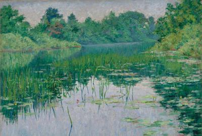 John Leslie Breck (American, 1860 – 1899) Grey Day on the Charles , 1894.  Oil on canvas, 18 x 22 inches.  Virginia Museum of Fine Arts, Richmond, J.  Harwood and Louise B.  Cochrane Fund for American Art, 90.151 Photo: Katherine Wetzel/ ©Virginia Museum of Fine Arts