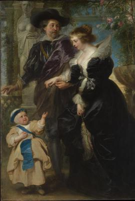 A previous gift, Peter Paul Rubens (Flemish, 1577–1640).  Rubens, His Wife Helena Fourment (1614–1673), and Their Son Frans (1633–1678), ca.  1635.  Oil on wood, 80 1/4 x 62 1/4 in.  (203.8 x 158.1 cm).  The Metropolitan Museum of Art, New York, Gift of Mr.  and Mrs.  Charles Wrightsman, in honor of Sir John Pope-Hennessy, 1981 (1981.238)