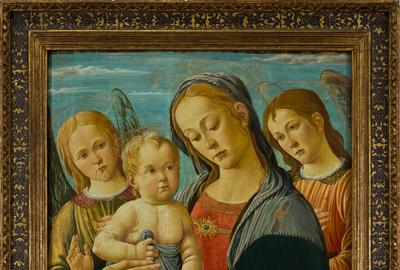 JACOPO DI ARCANGELO, known as DEL SELLAIO, Madonna and Child with the Young St John and Two Angels, 1480-1485, tempera on panel, 89 x 59.8 cm.  Collection Fondazione Francesco Federico Cerruti per l'Arte.  Long-term loan Castello di Rivoli Museo d'Arte Contemporanea, Rivoli-Turin Photo © Alessandro Fiamingo.  Courtesy Castello di Rivoli Museo d'Arte Contemporanea, Rivoli-Turin