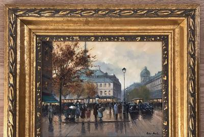 Peter Motz (Dutch, b.  1934-), Paris street scene, oil-on-canvas, 20th century.  Framed size: 15½ x 18in.  Estimate: $300-$500