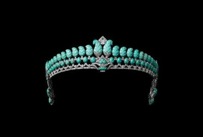 Tiara, Cartier London, special order, 1936.  Platinum, diamonds, turquoise.  Sold to The Honorable Robert Henry Brand.  Cartier Collection.  Vincent Wulveryck, Collection Cartier © Cartier
