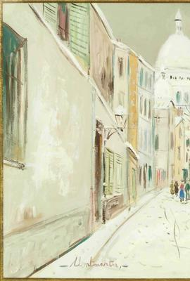 Original gouache painting by Maurice Utrillo (French, 1883-1955), titled Rue de Mont-Cenis a Montmartre, signed lower right, with provenance dating to 1963 (est.  $50,000-$70,000).