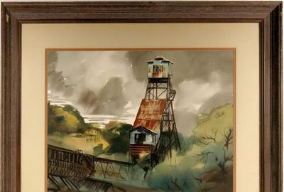 Watercolor painting of the Kennedy Gold Mine in Jackson, California (in the California Mother Lode), by Ralph Baker (1908-1976), in a 40 ½ inch by 34 ½ inch frame (est.  $2,000-$4,000).