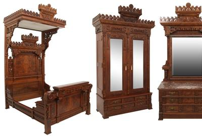 A massive Eastlake four-piece tester bedroom set ($8/12,000) includes a half tester bed, armoire, marble top dresser and commode with mirror, all ornamented with pierced carved crests having a central medallion, stylized birds, lion heads and all-over floral decoration.