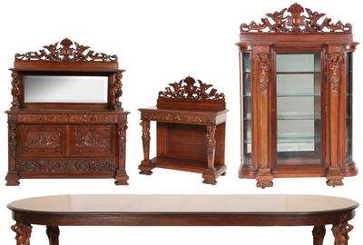An expected top lot is this R.J.  Horner 10-piece mahogany dining set ($20/30,000) with figural nude maiden bust pilasters, shelf supports and table legs.