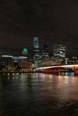 London Bridge, as lit for Leo Villareal's Illuminated River artwork.