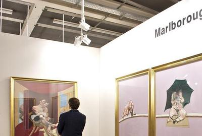 Francis Bacon works at Marlborough Gallery booth, Art Basel, 2011.