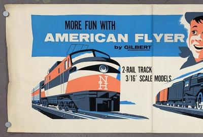 Exceedingly scarce and huge American Flyer dealer poster – 95 inches by 42 inches and made circa 1955 – chromolithographed on two pieces of paper, then factory attached ($5,100).