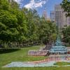 Leonardo Drew, City in the Grass, 2019.  Aluminum, sand, wood, cotton and mastic, 102 x 32 feet.  Madison Square Park, New York.  Commissioned by Madison Square Park Conservancy, New York.  Photo: Rashmi Gill