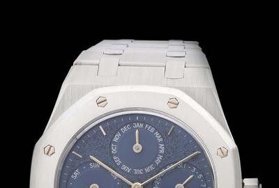Fine and rare platinum Audemars Piguet Royal Oak Perpetual Calendar wristwatch, Ref.  D34714, with box and papers, purchased new in Paris in 1994.  Sold for twice the high estimate at $240,000