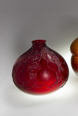 Rene Lalique, Red Courges Vase, No.  900, designed 1914 / Rene Lalique, Serpent Vase, Amber Glass, No.  896, designed 1924 / Rene Lalique, Borromee Vase, No.  1017, designed 1928