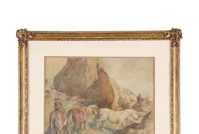 Original painting signed by the renowned Western American artist Frederic Remington (1861-1909), depicting horses moving through rocky terrain, done in the 1890s (CA$8,850).