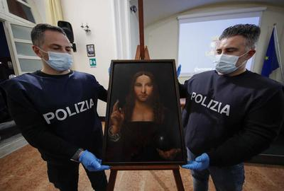 "The recovered copy of ""Salvator Mundi."" Salvatore Laporta/KONTROLAB/LightRocket via Getty Images"