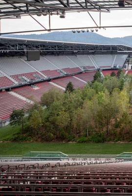 "Klaus Littmann, ""FOR FOREST - The Unending Attraction of Nature,"" art intervention, Wörthersee Stadium, Klagenfurt, Austria, 2019."