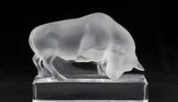 Lalique Bull on Pedestal to be sold March 20 at Selkirk (St Louis).