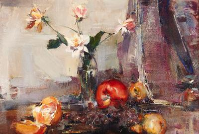 Oil on canvas painting by Nicolai Fechin (Russian, 1881-1955), titled Still life with flowers and fruit, circa 1925, 20 inches by 24 inches (est.  $70,000-$100,000).