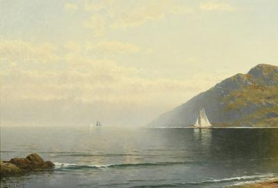 Oil on canvas coastal seascape by Alfred T.  Bricher (American, 1837-1908), titled Coastline, depicts a sailboat along a coastline, 14 ½ inches by 32 ½ inches (sight) (est.  $30,000-$50,000).