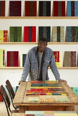 William T.  Williams at his studio in Connecticut, 2018; Photograph by Grant Delin