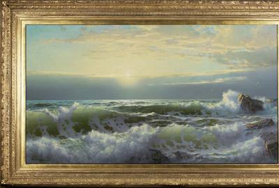 William Trost Richards (1833–1905), Off Conanicut, Newport, 1904, Oil on canvas 34 x 60 inches Signed and dated lower right: WM.  T.  Richards.  04.