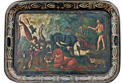 """Adam Naming the Animals,"" antique oil painting on tin tray.  30"" x 22"".  From Diana H.  Bittel Arts & Antiques."