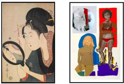 L: Kitagawa Utamaro, Painting the Eyebrows, ca.  1795-96, Scholten Japanese Art R: Emma Amos, 3 Ladies, 1970, Mary Ryan Gallery