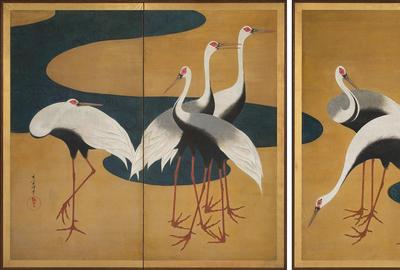 Suzuki Kiitsu, Cranes , Japanese, Edo period, c.  1820 – 25 .  Pair of two - panel folding screens; ink, color, and gold on paper.  Harvard Art Museums, Promised gift of Robert S.  and Betsy G.  Feinberg, TL42147