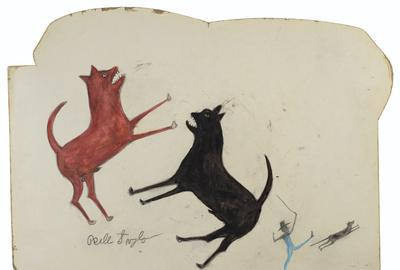 "Bill Traylor, ""Two Dogs Fighting; Man Chasing Dog,"" realized $293,750."