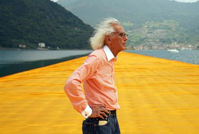 Christo at The Floating Piers, June 2016.  Photo: Wolfgang Volz