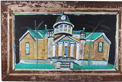 "Paint, mud, and glitter on board by Jimmy Lee Sudduth (American, 1910-2007), titled Fayetteville County Courthouse, signed in pencil lower left ""Jim Sudduth""."