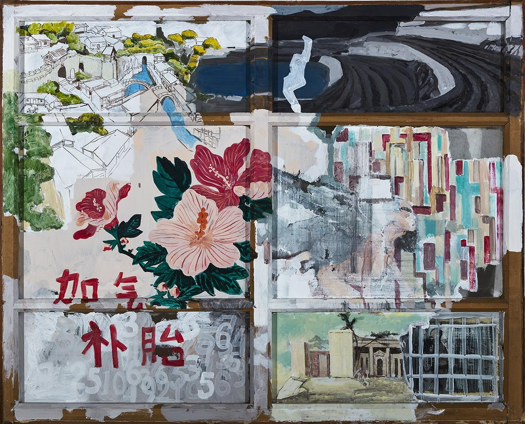 Wang Haichuan, Diary 1, 102x125cm, Mixed media on recycled windows, 2017