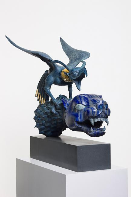 """Tiger and bird"", 2014.  Grinded and carved lapis lazulli; cast and patinated bronze.  97 x 141 x 62 cm."