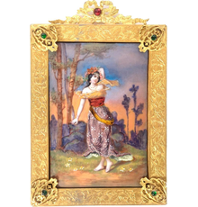 French enamel-on-copper portrait plaque, the frame embellished with faux gemstones, late 19th century, framed size 7¼ x 4¾ in.  Estimate $300-$500
