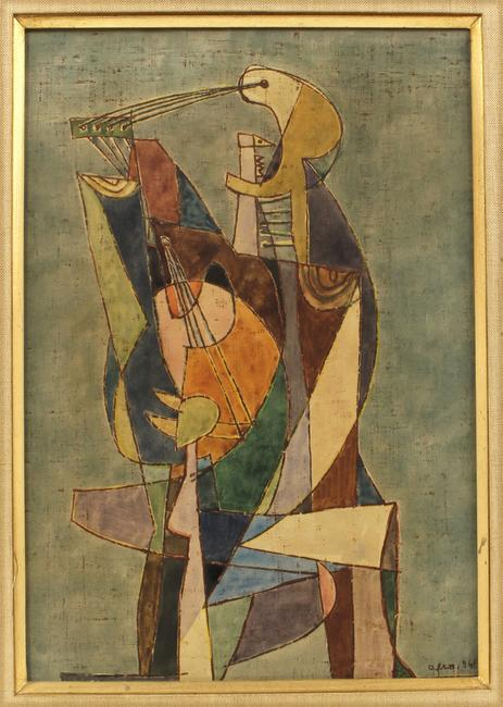 20th c.  art to be sold includes this abstract mixed media on paper by Afro Basaldella (Italian, 1912-1976) dated 1948.  This (and the large canvas by Julian Stanczak) is from the estate of a fellow artist and friend of both artists.  In 1956, Afro, as he is known, was given the award as Best Italian Artist at the Venice Biennale.