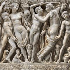 Detail of Farnese Sarcophagus, about 225 AD.  Marble, 163.2 x 62.23 x 26.67 cm (64 1/4 x 24 1/2 x 10 1/2 in.)