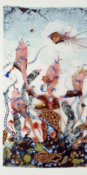 Wangechi Mutu (b.  1972, Nairobi; based in Brooklyn).  Funkalicious fruit field, 2007.  Ink, paint, mixed media, and plastic pearls on Mylar, 92 1/8 x 106 in.  Collection of Glenn Scott Wright, London.  Courtesy the artist and Victoria Miro, London.  © Wangechi Mutu.  Image courtesy the artist and Victoria Miro, London
