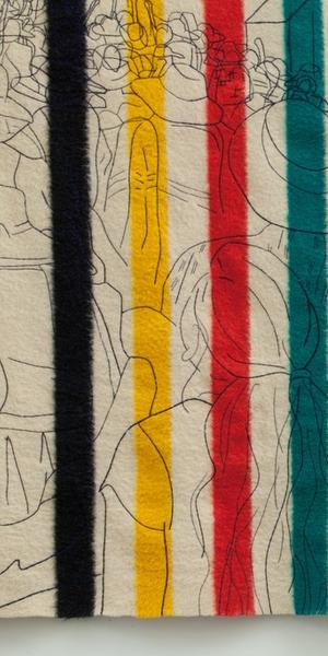 Marie Watt, Witness (detail), 2015,71 × 180.5 in.  Reclaimed wool blanket, embroidery floss, thread.  Image courtesy of the artist, Photograph by Aaron Johanson