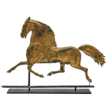 Elegant 19th-century weathervane depicting famous American trotter 'Black Hawk' (1833-1856), attributed to J.W.  Fiske, New York City, hollow copper body with sheet copper mane and tail, 25.5 x 18.5 x 4in.  Estimate $2,000-$3,000