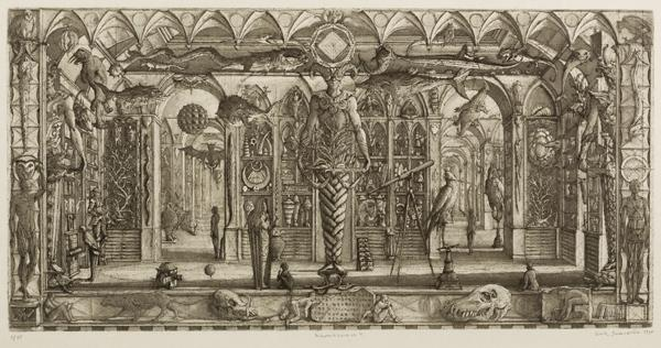'Wunderkammer II', 1998.  Etching and aquatint, 10 x 21 inches.