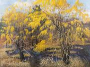 Vernal Pool with Willows, 2003.  Oil on canvas, 36 x 48 inches.