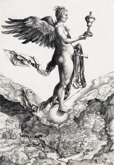 Lot 10: Albrecht Dürer, The Nemesis, engraving, circa 1501-02.  Estimate $80,000 to $120,000.