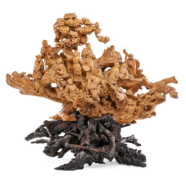 Lot 1024: Chinese Boxwood sculpture with Rootwood stand, $4,500–6,500