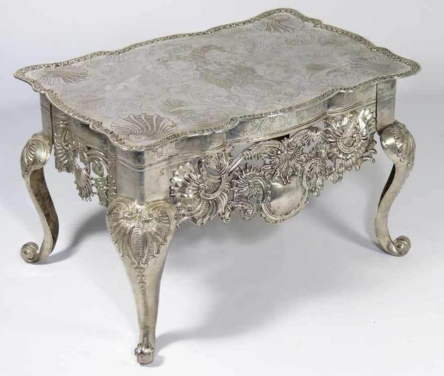 RARE SPANISH COLONIAL SILVER TABLE (MESA RATONA) c.  1750-1800