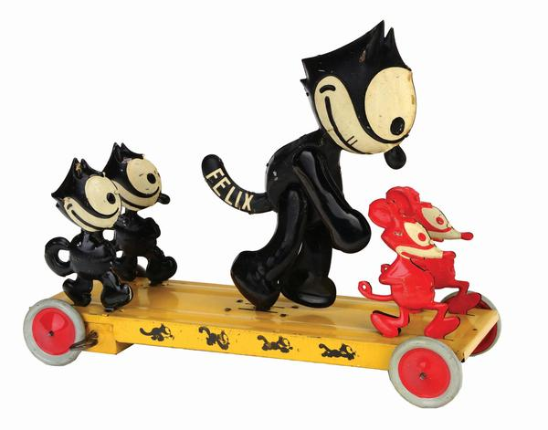 Large (14in long x 11in high) and very rare J.  Chein 'Felix Frolic' toy with central Felix figure, two smaller Felix figures, and two red mice.  Circa 1926.  One of only four known examples.  Ex Jeff Landes collection.  Estimate $20,000-$40,000