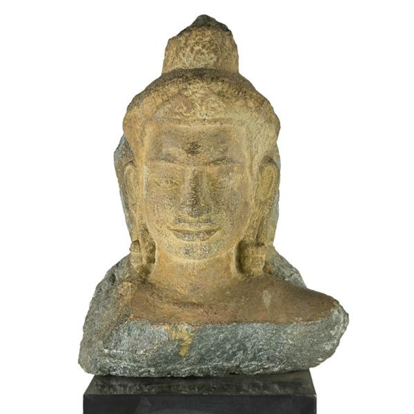 Thai Stone Buddha Head, Angkor Province, Sold for $11,250 in Rago's Great Estates Auction